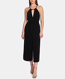 Cropped Wide-Leg Halter Jumpsuit