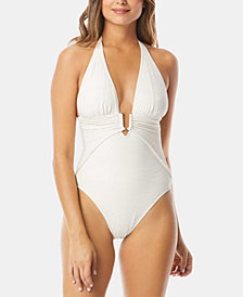 Vince Camuto Plunging Textured Halter One-Piece Swimsuit