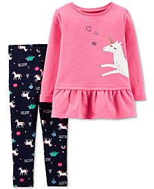 Carter's Baby Girls 2-Pc. Unicorn Top & Believe-Print Leggings Set