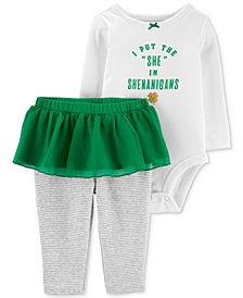 Carter's Baby Girls 2-Pc. Shamrock Graphic Cotton Bodysuit & Tutu Pants