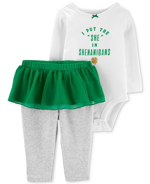 caa64bc41d Carter s Baby Girls 2-Pc. Shamrock Graphic Cotton Bodysuit   Tutu ...