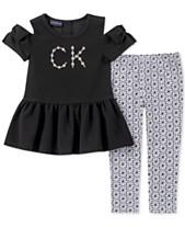 Calvin Klein Toddler Girls 2-Pc. Peplum Tunic   Printed Leggings Set ce3a0304b
