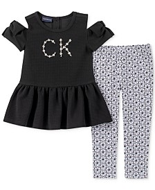 Calvin Klein Toddler Girls 2-Pc. Peplum Tunic & Printed Leggings Set
