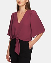 61ca92bf752f54 1.STATE Flounce-Sleeve Tie-Front Top