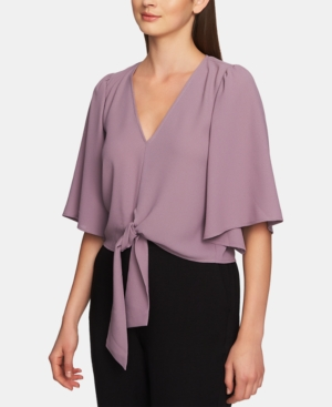 1.state Tops FLOUNCE-SLEEVE TIE-FRONT TOP