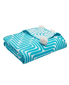 Trina Turk Amazing Maze Turquoise Throw Blanket