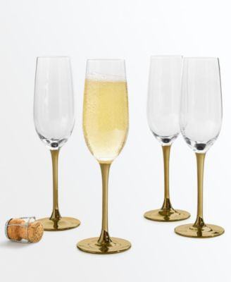 CLOSEOUT! Gold Stem Champagne Glasses, Set of 4, Created for Macy's