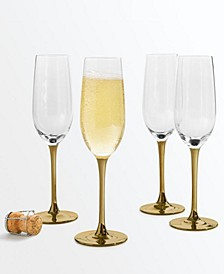 Gold Stem Champagne Glasses, Set of 4, Created for Macy's