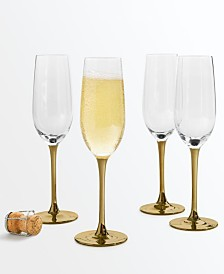 Martha Stewart Collection Gold Stem Champagne Glasses, Set of 4, Created for Macy's
