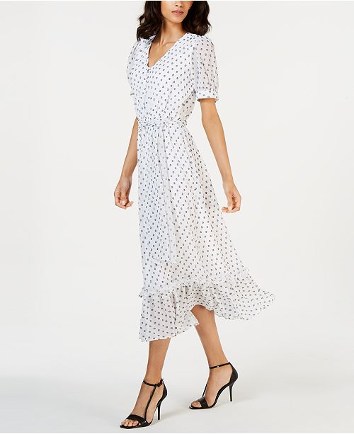 Calvin Klein Printed Ruffle-Trim Maxi Dress