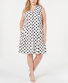 Jessica Howard Plus Size Polka Dot A-Line Dress