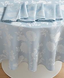 "Homewear Spring Jubilee Blue 70"" Round Dining Set w/ 6 Napkins"