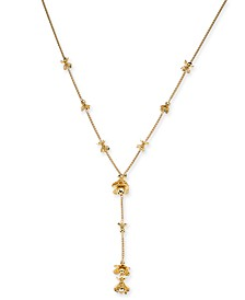"""I.N.C. Gold-Tone Stacked Flower Lariat Necklace, 25-1/2"""" + 3"""" extender, Created for Macy's"""