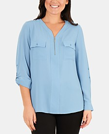 NY Collection Front-Zipper Roll-Tab Sleeve Top