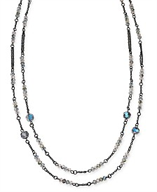 "I.N.C. Hematite-Tone Beaded Statement Necklace, 60"" + 3"" extender, Created for Macy's"