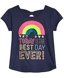 Epic Threads Toddler & Little Girls Best Day Ever Flip Sequin T-Shirt, Created for Macy's