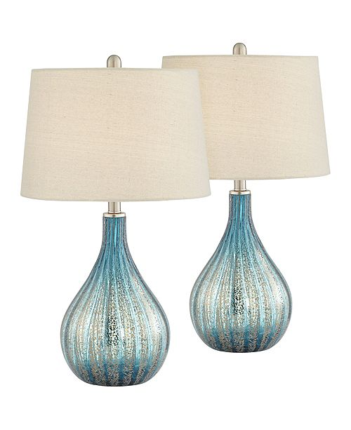 Pacific Coast Blue and Grey North Glass Table Lamps - Set of 2