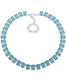 "Lauren Ralph Lauren Silver-Tone Crystal Collar Necklace, 17"" + 2"" extender"