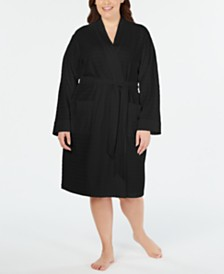 Charter Club Plus Size Striped Texture Knit Robe, Created for Macy's