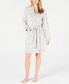 Floral Jacquard Knit Short Robe