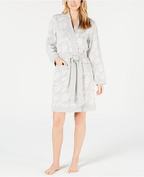 Charter Club Floral Jacquard Knit Short Robe