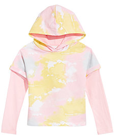 Epic Threads Big Girls Layered-Look Tie-Dyed Hoodie, Created for Macy's