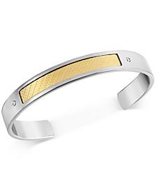Men's Diamond Accent Cuff Bracelet in 18k Gold & Stainless Steel