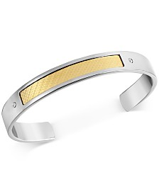 Men's Diamond Accent Cuff Bracelet in 18k Gold & Stainless Steel