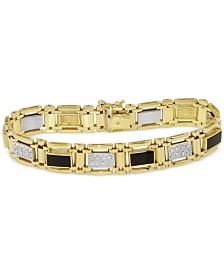Men's Diamond (1 ct. t.w.) and Onyx (10mm x 5mm) Bracelet in 10k Gold