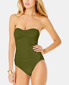 Anne Cole Live In Color Twist Strapless One-Piece Swimsuit