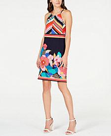 Trina Turk Mixed-Print Jersey Halter Dress