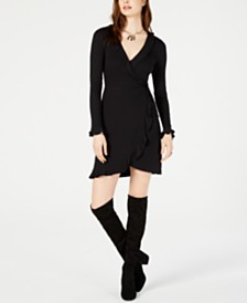 Bar III Ribbed Wrap Dress, Created for Macy's