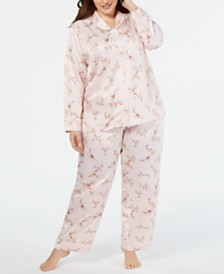 Charter Club Plus Size Long-Sleeve Notch Collar Pajama Separates, Created for Macy's