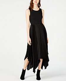 Bar III Ribbed & Satin Pleated Dress, Created for Macy's