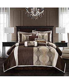 Kath 7-Piece Comforter Set, Brown, Full