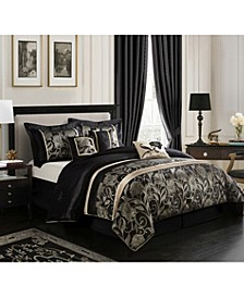 Mollybee 7-Piece Comforter Set, Black, Queen
