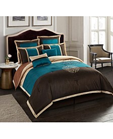 Phoebe 8-Piece Comforter Set, Brown/Aqua, Queen