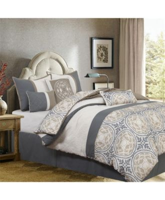 Camila 7-Piece Comforter Set, Gray/Ivory, King
