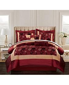 Angela 7-Piece Comforter Set, Red, King