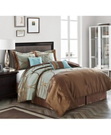 Anna 7-Piece Comforter Set, Brown, Queen