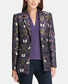 DKNY Jacquard Butterfly One-Button Blazer, Created for Macy's