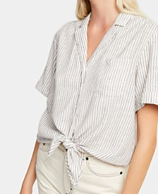 French Connection Striped Tie-Front Linen Shirt