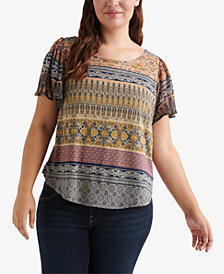 Lucky Brand Plus Size Printed Back-Cutout Top