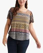 c07a55edc2b753 Lucky Brand Plus Size Printed Back-Cutout Top