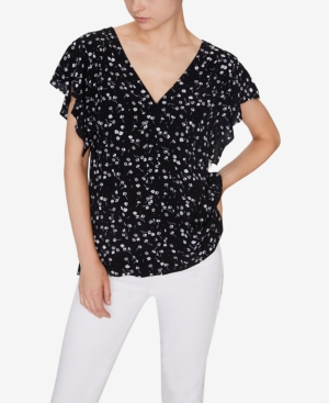 Sanctuary Tops COUNTRYSIDE PRINTED FLUTTER-SLEEVE TOP