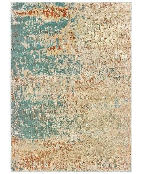"Oriental Weavers Carson 9654B Blue/Orange 9'10"" x 12'10"" Area Rug"