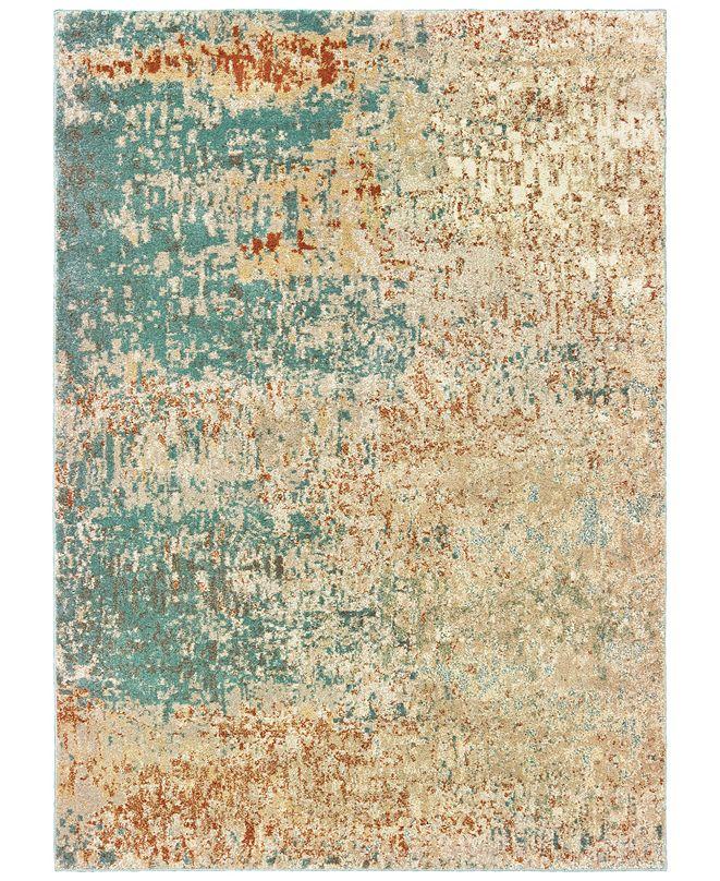 "Oriental Weavers Carson 9654B Blue/Orange 5'3"" x 7'3"" Area Rug"