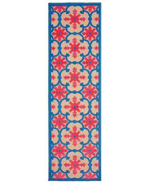 """Oriental Weavers Cayman 190L9 Sand/Pink 2'3"""" x 7'6"""" Indoor/Outdoor Runner Area Rug"""
