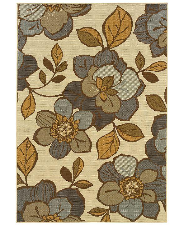 """Oriental Weavers Bali 9448M Ivory/Gray 1'9"""" x 3'9"""" Indoor/Outdoor Area Rug"""