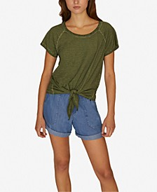 Lou Solid Tie-Front T-Shirt